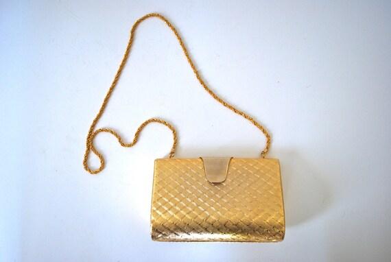 SPRING SALE/ 20% off Vintage 70s 80s Fabrizio Verniani Gold Metal Clutch