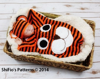 CROCHET PATTERN For a Baby Tiger Cocoon & Hat in 3 Sizes PDF  271 Digital Download