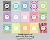 96 Personalized Chevron Lip Balm Labels Multiple Color Choices