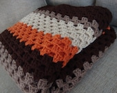 Breaking Bad Afghan Walter White Breaking Bad blanket brown orange cream crochet afghan granny square afghan man afghan man cave blanket