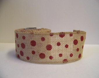 "Burlap Ribbon- Polka Dots Ribbon,Chair Sash-Burlap Bows-Christmas Decor-2.5"" wide-5 yds.-Wreath Bows"