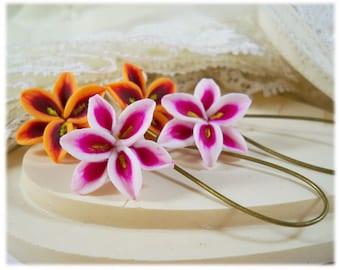 Stargazer Lily Dangle Earrings - Pink Lily Drop Earrings, Pink Flower Earrings