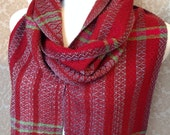 Gray Striped with Fuchsia to Spice with Spice Red Handwoven Scarf DBJ2