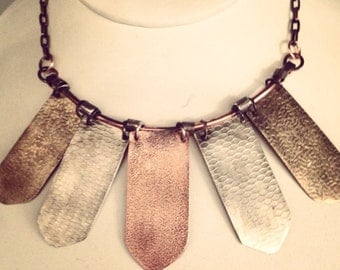 mixed metal stamped necklace