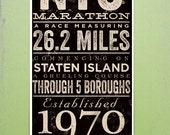 New York City Marathon original typography artwork giclee signed artists print by Stephen Fowler