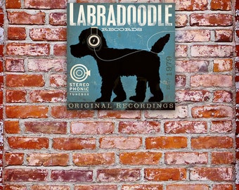 Labradoodle Records original graphic art on gallery wrapped canvas by by stephen fowler