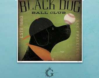 Black Dog labrador baseball club original graphic illustration signed archival artists print giclee by Stephen Fowler Pick A Size