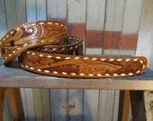"""70s Cowboy Belt Personalized Western Vintage 70s leather Belt Verne hand Tooled name Cowboy belt M 31""""+"""