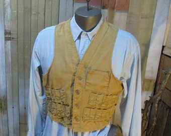 1950s J C Higgins Vest Sears Vintage 50s Hunting Vest golden Tan Canvas J C Higgins S M