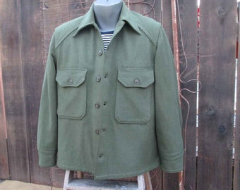 50s Wool Army Shirt Military Olive Green Army jacket L XL washable wool jacket field army