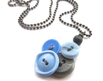 Small Light Blue and Gray Cluster Vintage Button Jewelry Pendant Necklace