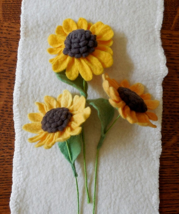 Items similar to sunflower felted flower create your for Design your own flower arrangement