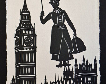 Sale 20% Off // MARY POPPINS Papercut - Hand-Cut Silhouette // Coupon Code SALE20