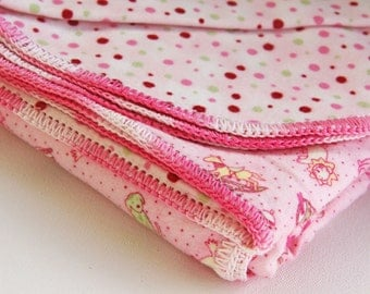 Receiving Swaddle Blanket with Hemstitched Crocheted Edges in Pink