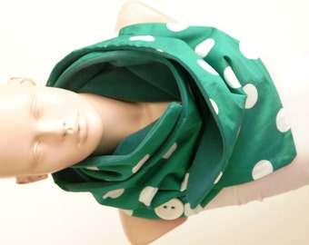 Dotted Fluffy Coton Green and White  Scarf, Shawl OOAK