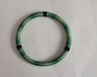Green Bracelet Green Bagke Yarn Thread Wrapped Woman's Bracelet Bangle