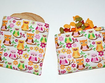 OWLS ON BRANCHES - Eco Friendly Reusable Sandwich and Snack Bag Set