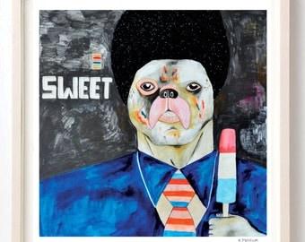 Art, Print, Animals, Dogs, Sweets, Humor, Folk, Bulldog, Afro, Hair, Street Art, Pitbull, Sweet- Art Print on Fine Art Paper