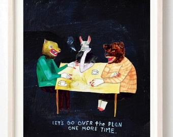 Art, Animals, Bear, Cigarettes, Weird, Quirky, Humor, Unique art, Folk Art, The Plan- Print on Fine Art Paper