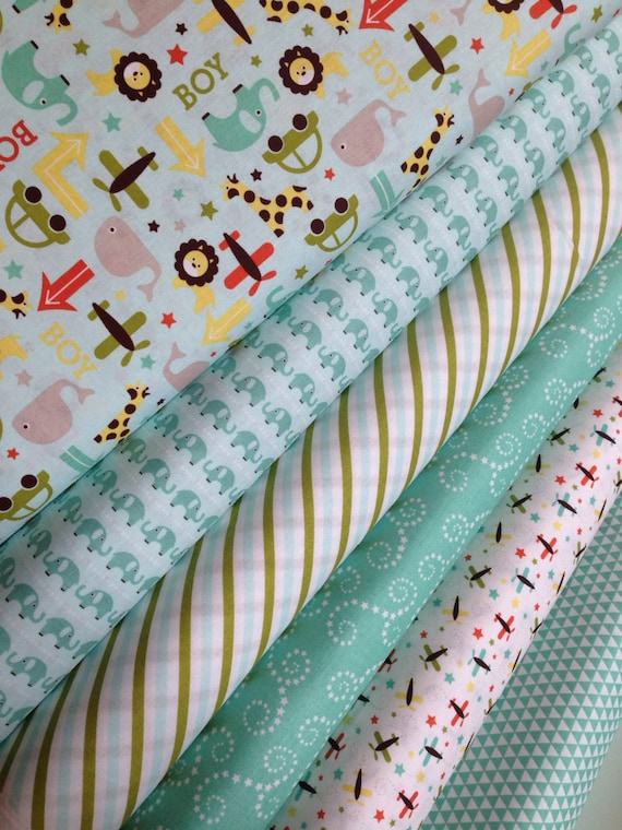 Oh Boy fabric bundle by Riley Blake Fabrics-Fat Quarter Bundle- 6 total