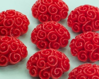 30 Swirl Red Flower Cabochons Flat Back 24mm
