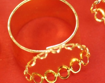 6 13mm x 18mm Gold Ring Mountings Bases Settings for Cabochons/Cameos Adjustable