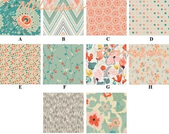 Custom Peach Coral Mint and Teal Watercolor Floral Chevron Dot Baby Nursery Crib Bedding Set CHOOSE & CUSTOMIZE