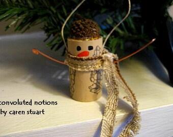 wine cork snowman with acorn cap Christmas ornament handmade
