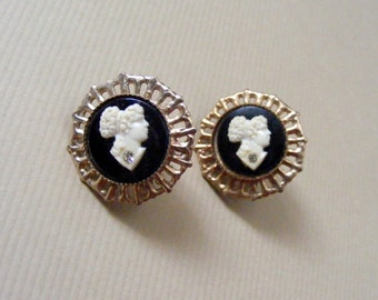Vintage Ivory and Onyx Cameo Earrings