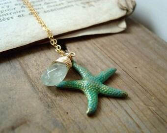 Ocean's Treasure Necklace. Patina Starfish and Aquamarine Beachy Summer Mothers Day March Birthstone Beach Weddings Bridesmaid Jewelry