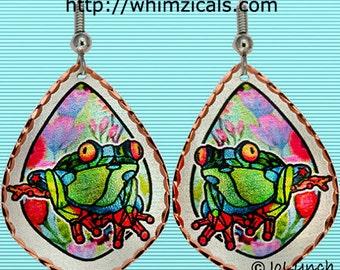Tree Frog Earrings in Gorgeous Copper