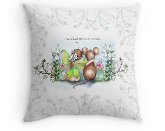 Friendship,Mouse and Fairy, Designer Pillow cover, created from original Art