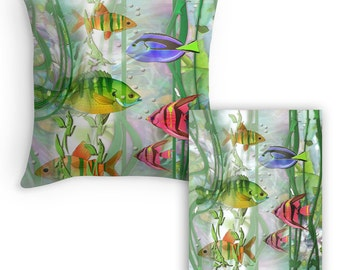 Colorful Tropical Fish, Designer throw Pillow cover, Plus FREE print, created from original Art