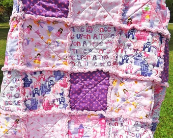 Princess Rag Quilt - MADE TO ORDER - Pink Purple - Perfect for a Little Girl - Backing Fabric Options - Lap Quilt - Girl Rag Quilt