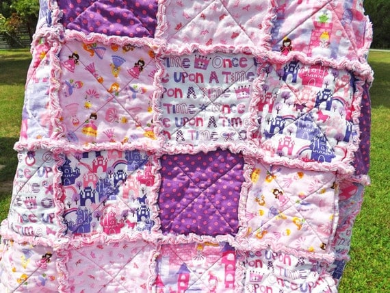 Princess Rag Quilt - pink, purple - Perfect for a Little Girl - Backing Fabric Options - Girl Rag Quilt
