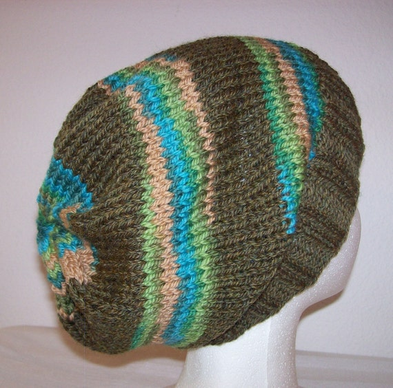Hipster Hat Knitting Pattern : Wool Hipster Beanie Slouchy Knit Beanie Striped Slouch Hat