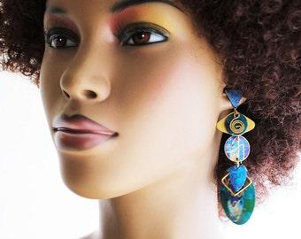 African Earrings, Brass Earrings, Play the Blues Color Burst African Brass Post Earrings