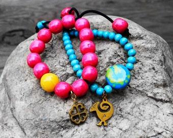 Beaded Bracelets, Stretch Bracelets, Adinkra Symbol, Adinkra Jewelry, Farai Adinkra Wood Beaded Bracelet Set