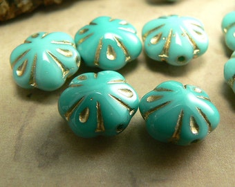 Green Turquoise Opaque Czech Glass Puffy Daisy Flower Beads Gold Trim 6 Petal 11mm (10)