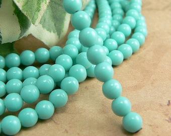 Turquoise Czech Glass Beads Round Druk Opaque Aqua Blue Green 4mm (50)