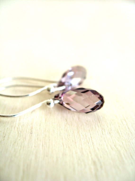 Lilac earrings Swarovski drops Pastel Wedding jewelry by Vitrine Bridesmaid gift for her Under 30