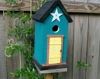 Folk Art Primitive Garden Cottage Dark Turquoise Birdhouse