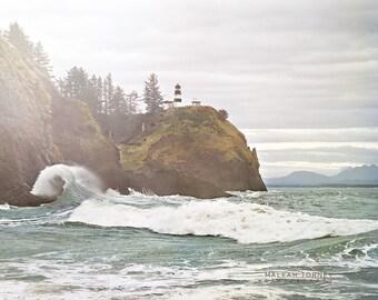 Ocean Photography, Lighthouse, Washington, coast, beach, Cape Disappointment, mist, sea, green, blue, nautical decor