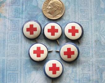 Red Cross Pin Lot Antique WWI WWII American Art Works Advertising Ephemera Diy Relic Art Jewelry Repurpose Findings