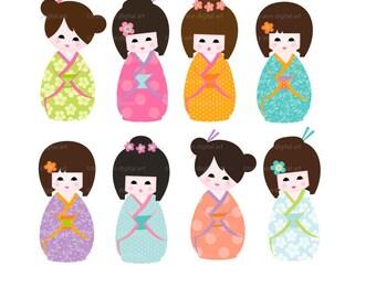 Summer Kokeshi Clip Art - Party Images