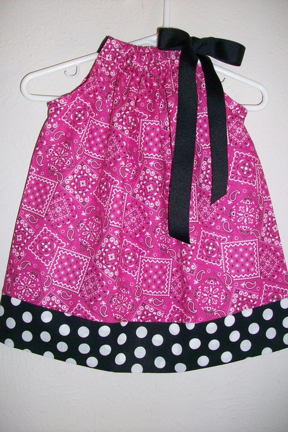 SALE 12m Pillowcase Dress Pink BANDANA with Black Dots Farm Cow girl Country Western Party baby toddler girl