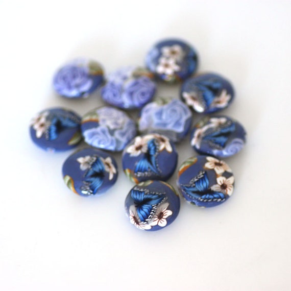 Lavender Beads, Polymer Clay Lentils, Dozen Purple Beads, Blue Butterfly Made to Order