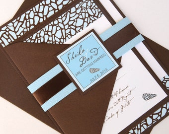 Chocolate Brown and Sea Blue Beach Shell Invitation and RSVP Destination Wedding Suite