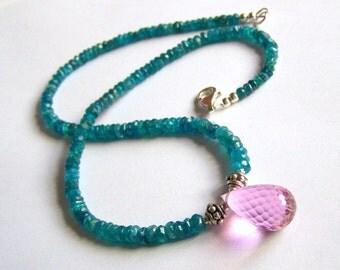Natural Apatite Necklace Sterling Silver Pink Quartz Drop Lg Brilolette Pendant Blue Colorful jewelry Feminine Delicate necklace