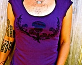 Scottish Thistle Tshirt Purple Green Tshirt Stretchy Cotton Womens Made in USA S M L XL